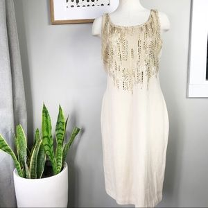 St.John gold knit sleeveless studded dress 10